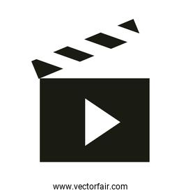 mobile application movie video and film web button menu digital silhouette style icon