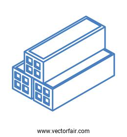 isometric repair construction stack of bricks work tool and equipment linear style icon design