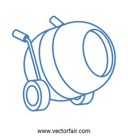 isometric repair construction concrete mixer work tool and equipment linear style icon design