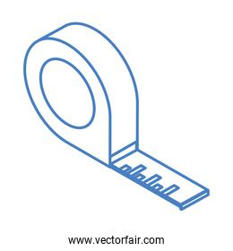 isometric repair construction measuring tape work tool and equipment linear style icon design