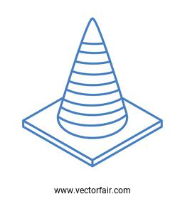 isometric repair construction traffic cone caution work tool and equipment linear style icon design