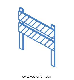 isometric repair construction traffic barricade warning work tool and equipment linear style icon design
