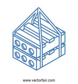 isometric repair construction material steel pallets work tool and equipment linear style icon design