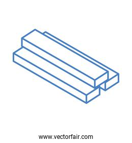 isometric repair construction steel square bars work tool and equipment linear style icon design