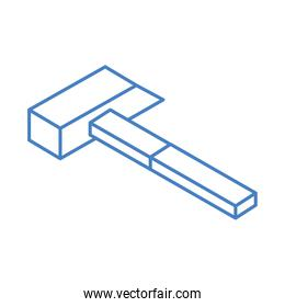 isometric repair construction hammer work tool and equipment linear style icon design