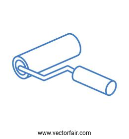 isometric repair construction color paint roller work tool and equipment linear style icon design