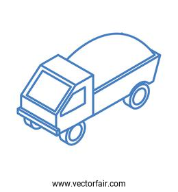 isometric repair construction dump truck with full of soil work equipment linear style icon design
