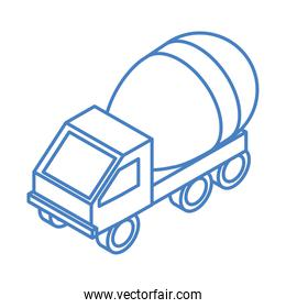 isometric repair construction concrete mixer truck transport work linear style icon design