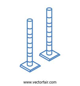 isometric repair construction road pole barrier work tool and equipment linear style icon design