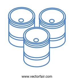 isometric repair construction barrels work tool and equipment linear style icon design