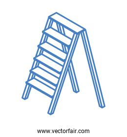 isometric repair construction aluminum stair work tool and equipment linear style icon design
