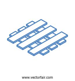 isometric wooden pallet for warehouse or construction site work equipment linear style icon design