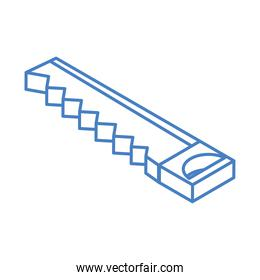 isometric repair construction saw work tool and equipment linear style icon design