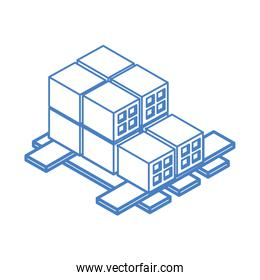 isometric repair construction bricks pile on wood pallet work equipment linear style icon design