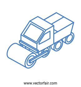 isometric repair construction road roller machinery linear style icon design