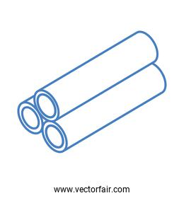 isometric repair construction reinforced concrete pipes work tool and equipment linear style icon design