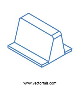 isometric repair construction roadblock barrier work tool and equipment linear style icon design