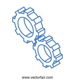 isometric repair construction gears cogwheels mechanic work tool and equipment linear style icon design