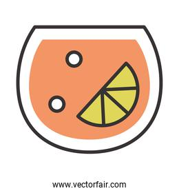 cocktail icon lime bubbles drink liquor refreshing alcohol line and fill design