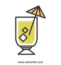 cocktail icon glass with umbrella and ice drink liquor refreshing alcohol line and fill design