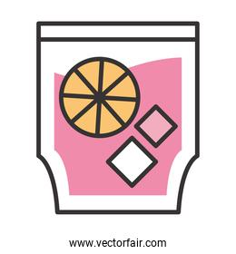 cocktail icon drink liquor refreshing alcohol celebration party line and fill design