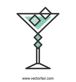 cocktail icon glass cup with ice cubes drink liquor refreshing alcohol line and fill design