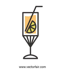 cocktail icon delicious drink liquor refreshing alcohol line and fill design