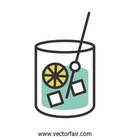cocktail icon fresh cold glass cup with mixer drink alcohol line and fill design