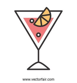 cocktail icon fruit tropical slice drink liquor refreshing alcohol line and fill design