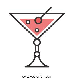 cocktail icon fresh juicy drink liquor alcohol line and fill design