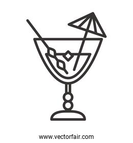 cocktail icon mixer and umbrella drink liquor refreshing alcohol line style design