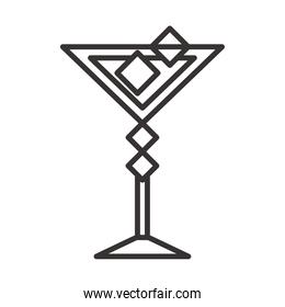 cocktail icon glass cup with ice cubes drink liquor refreshing alcohol line style design