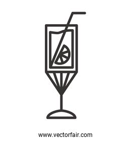 cocktail icon delicious drink liquor refreshing alcohol line style design