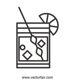 cocktail icon glass lime mixer and ice drink liquor refreshing alcohol line style design