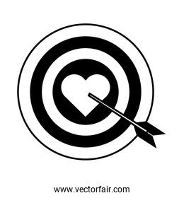 target arrow love heart romantic passion linear style icon