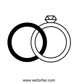 love heart romantic wedding rings with diamond linear style icon