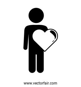 character heart love romantic passion feeling linear style icon