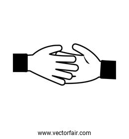 handshake gesture diverse people team linear style icon