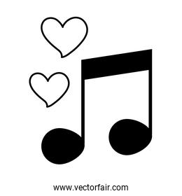 love heart romantic feeling note music melody linear style icon