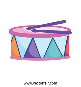 kids toys drum musical instrument cartoon isolated icon design white background