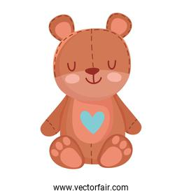 kids toys teddy bear with heart cartoon isolated icon design white background