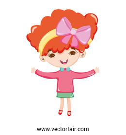 little girl with bow in head short hair isolated icon design white background