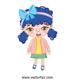 little girl pony tails hair with bow in head isolated icon design white background