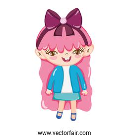little girl pink hair with bow in head isolated icon design white background