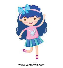 little girl blue hair with bow in head isolated icon design white background