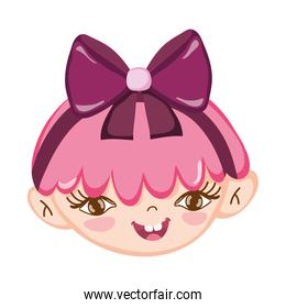 sweet little girl face pink hair with ribbon isolated icon design white background