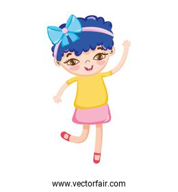 little girl with bow in head blue hair isolated icon design white background