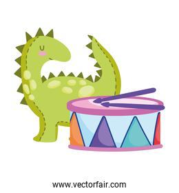 toys object for small kids to play cartoon little dinosaur and drum musical
