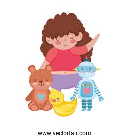 toys object for small kids to play cartoon, cute girl with teddy bear robot and duck