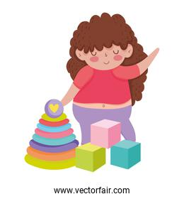 toys   for small kids to play cartoon, little girl with cubes and pyramid